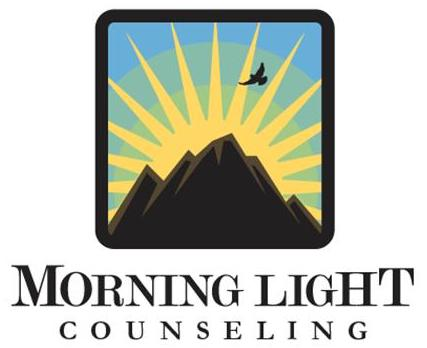 Logo, Morning Light Counseling - Mountain sunrise with bird in flight